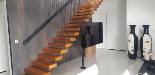 מדרגות מרחפות / עץ אלון טיק טבעי